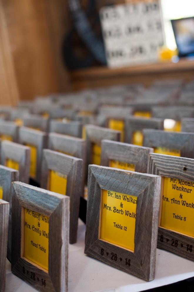Wooden framed seating cards