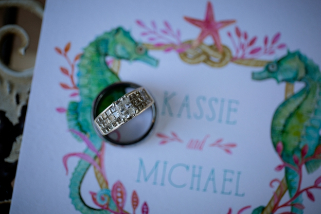 Darling seahorse invitation with wedding rings