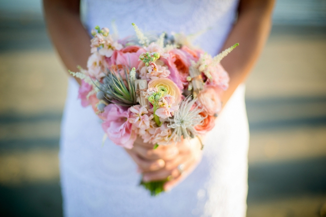 Beach bride and her bouquet
