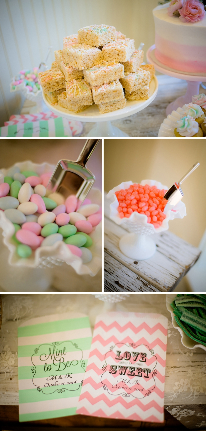 Darling pink and mint candy bar