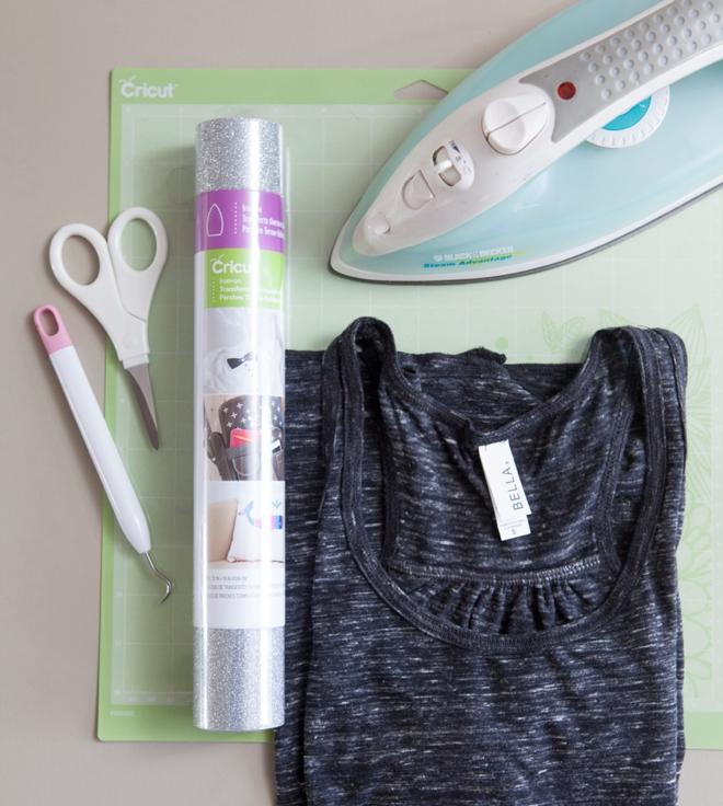 DIY Iron-on glitter bride shirt