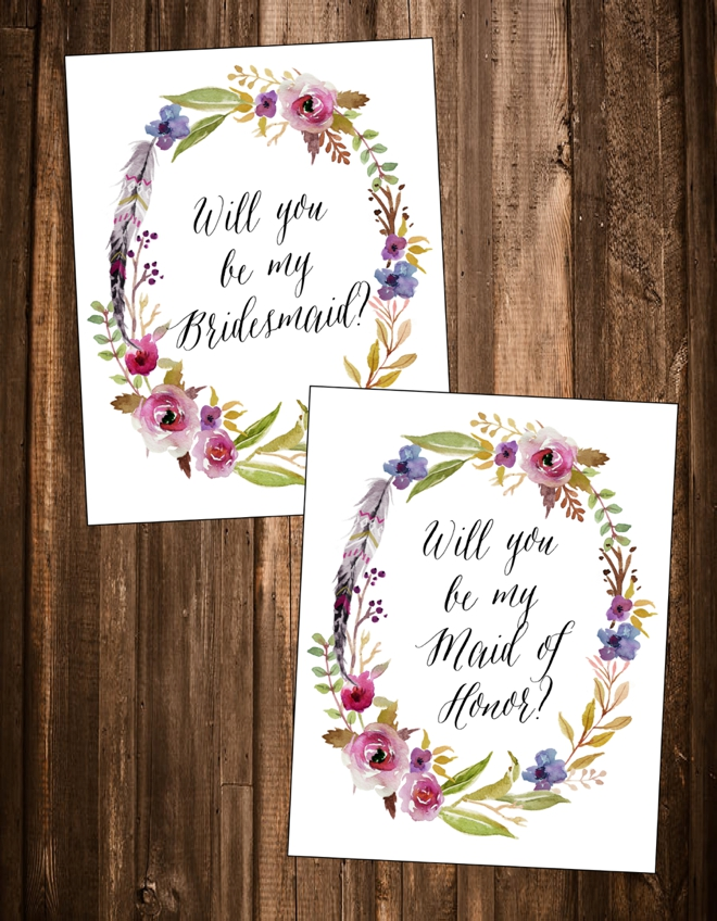 "Free ""Will You Be My Bridesmaid"" Cards"