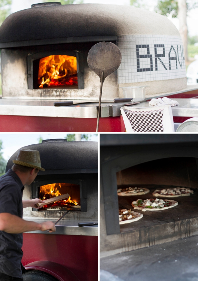 Wood fire pizza at a wedding