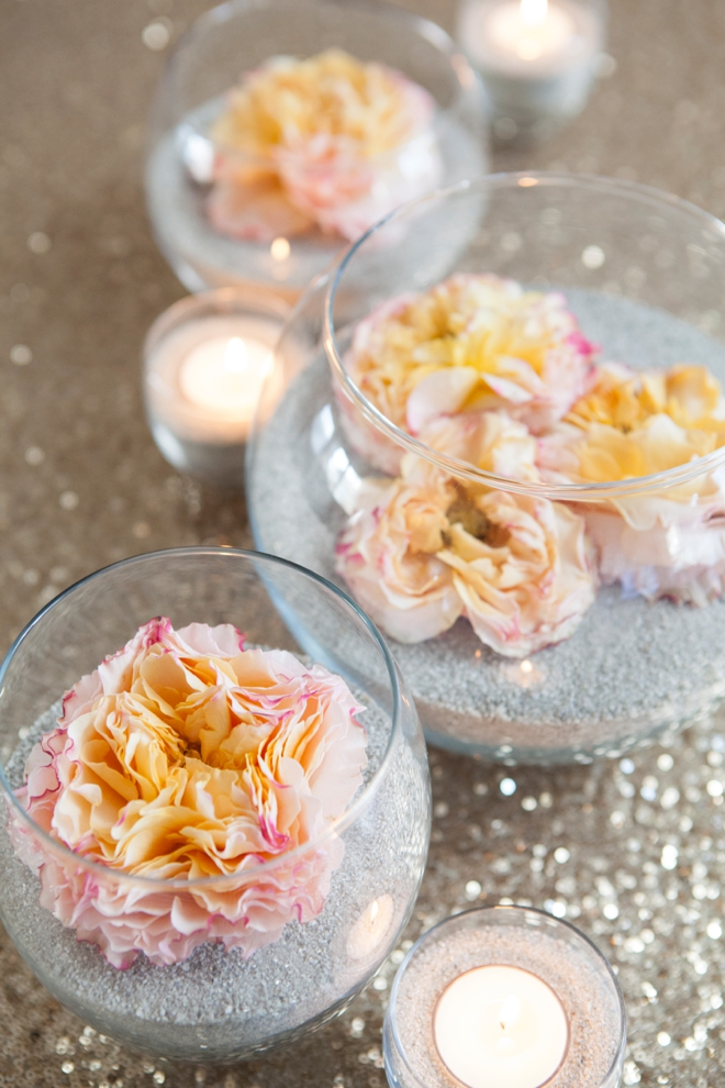 DIY flower and sand centerpieces