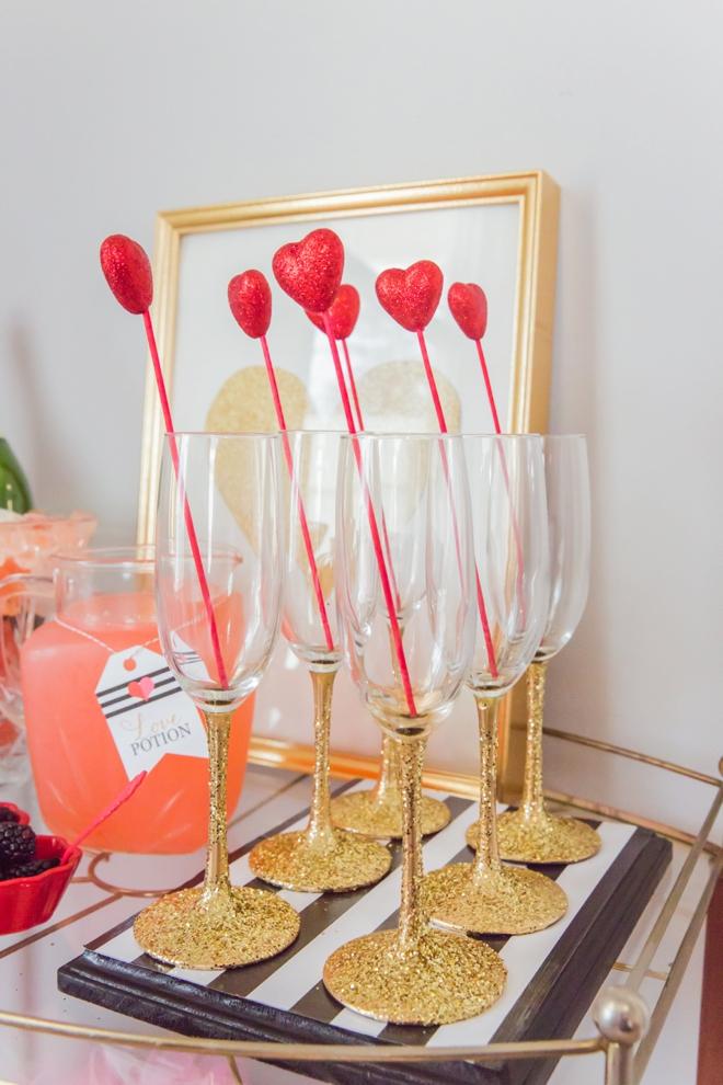 Gold glitter champagne glasses