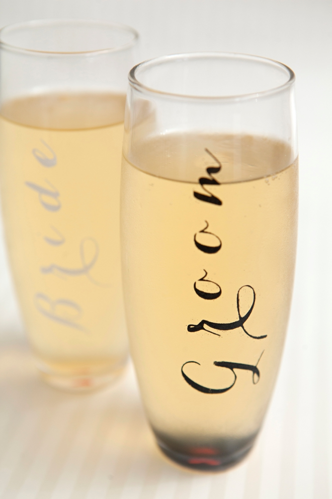 DIY Bride and Groom Champagne Glasses