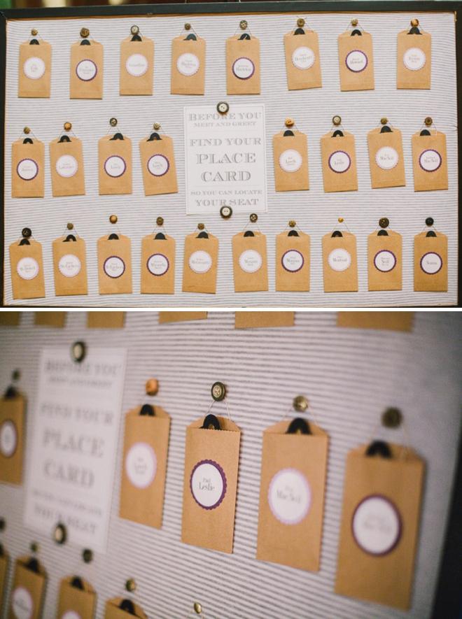 Darling pocket-style wedding seating cards