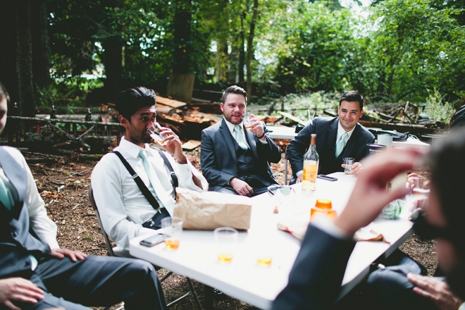 Guys getting ready for the wedding