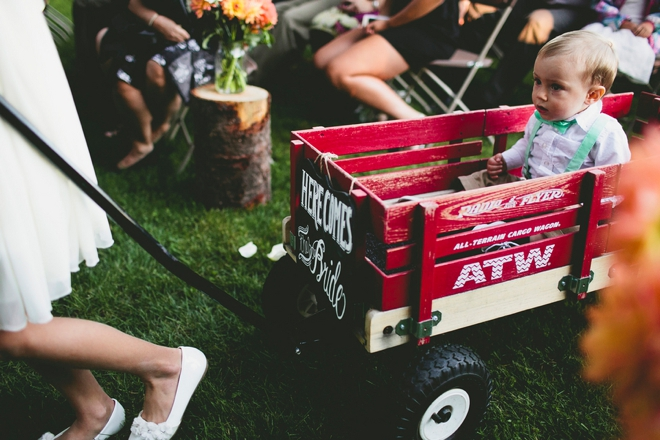 Ring bearer wagon with sign