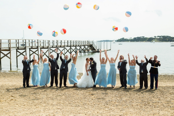 Bridal Party throwing Beach balls
