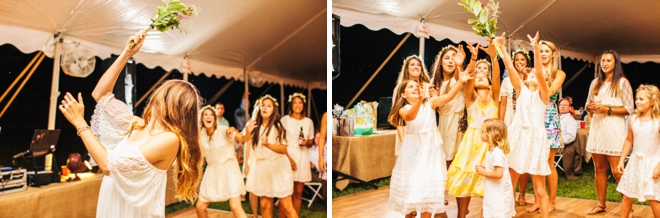Bridesmaids trying to catch the bouquet