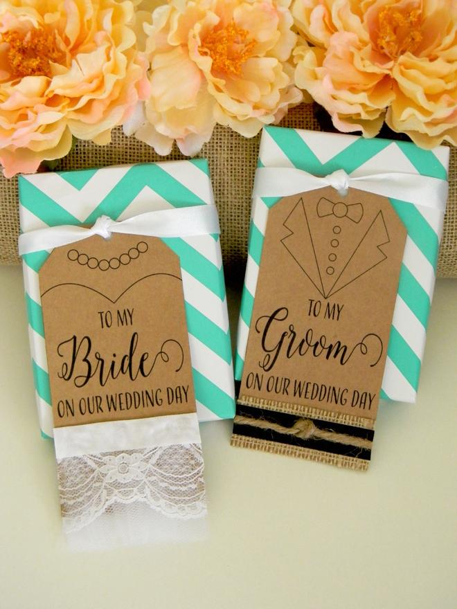 FREE bride and groom wedding gift tag printable file