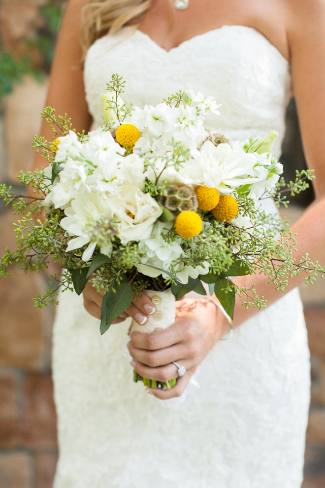 Beautiful white and yellow wedding bouquet