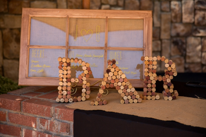 Bar sign made out of corks