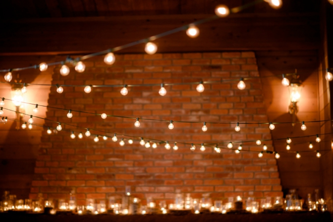 Cafe lighting at wedding reception
