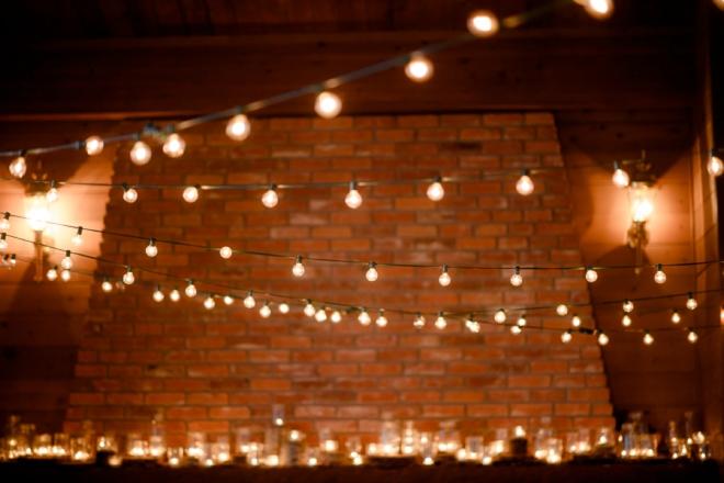 Cafe lighting at wedding reception