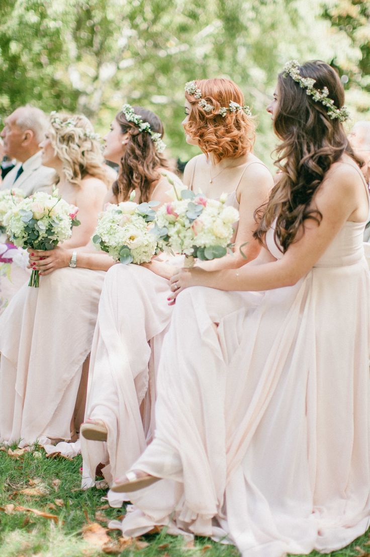 Gorgeous bridesmaids all wearing flower crowns