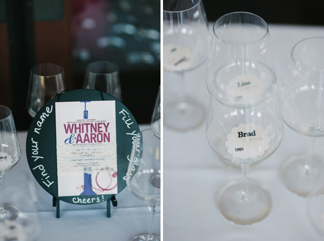 Wine glass seating cards