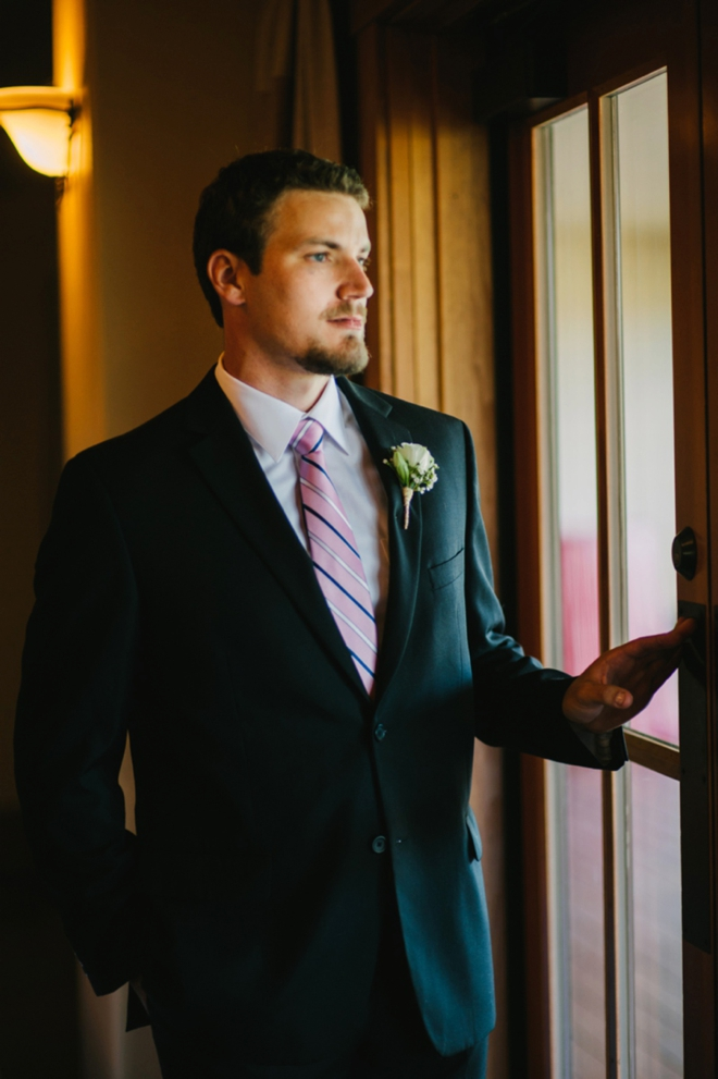 The handsome groom waiting for his bride
