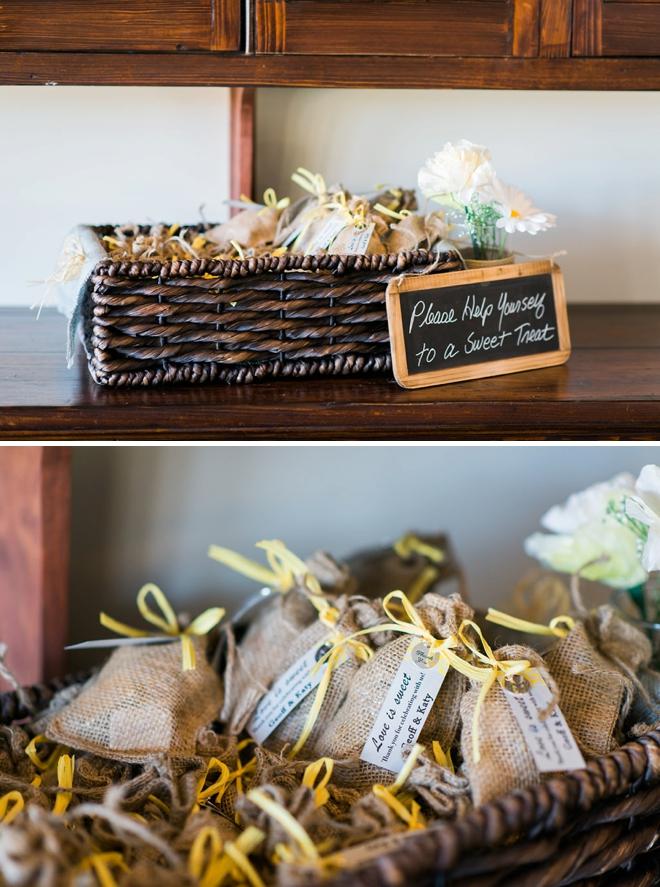 Cute little wedding favors in burlap bags