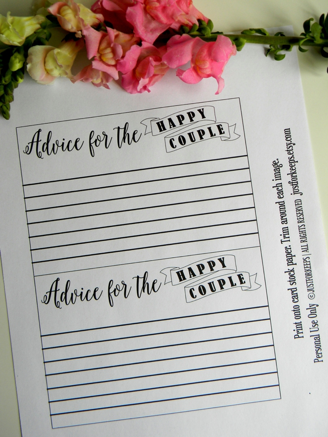 FREE wedding advice card printable from JustForKeeps!