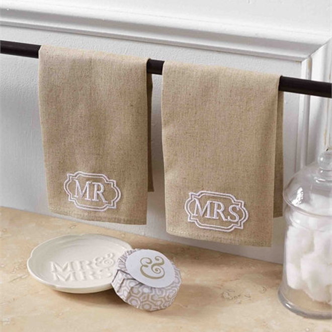 Mr & Mrs Towels gift set for newlyweds from The Bride Tank Top Shop