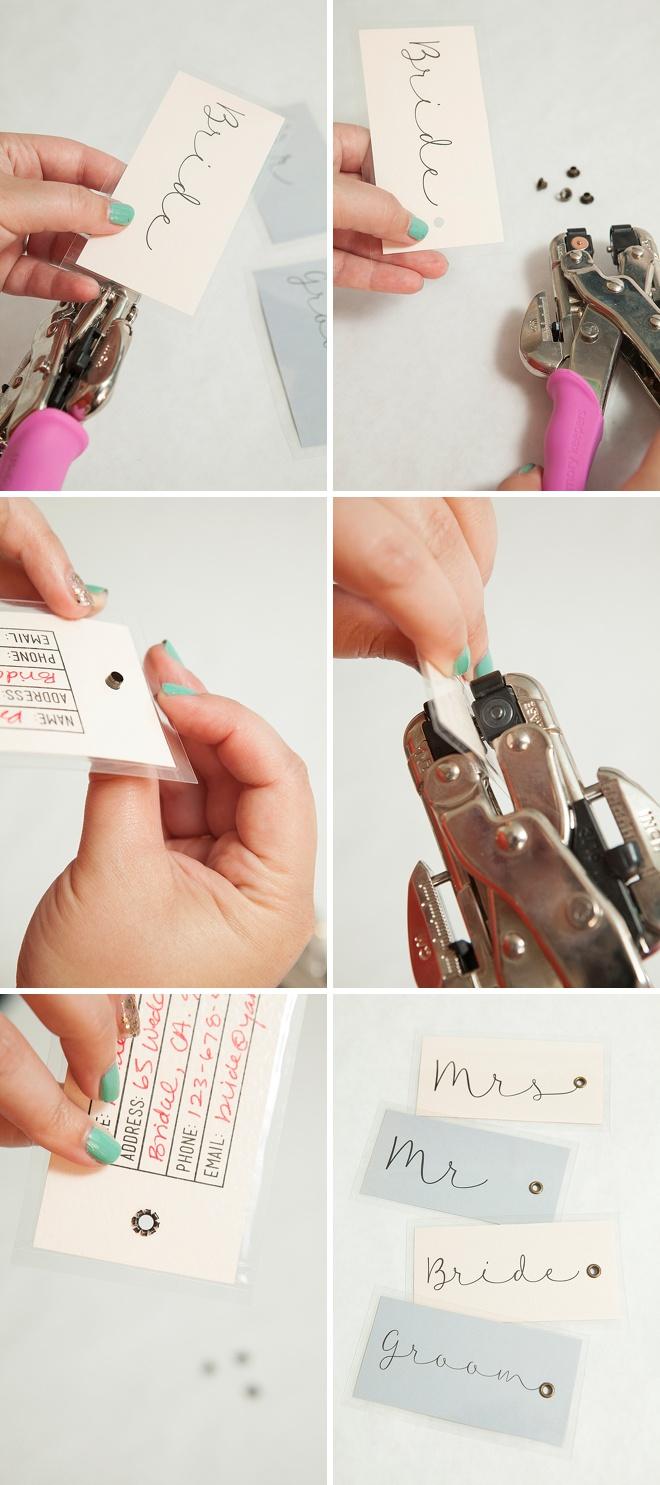 Adorable DIY wedding luggage tags!