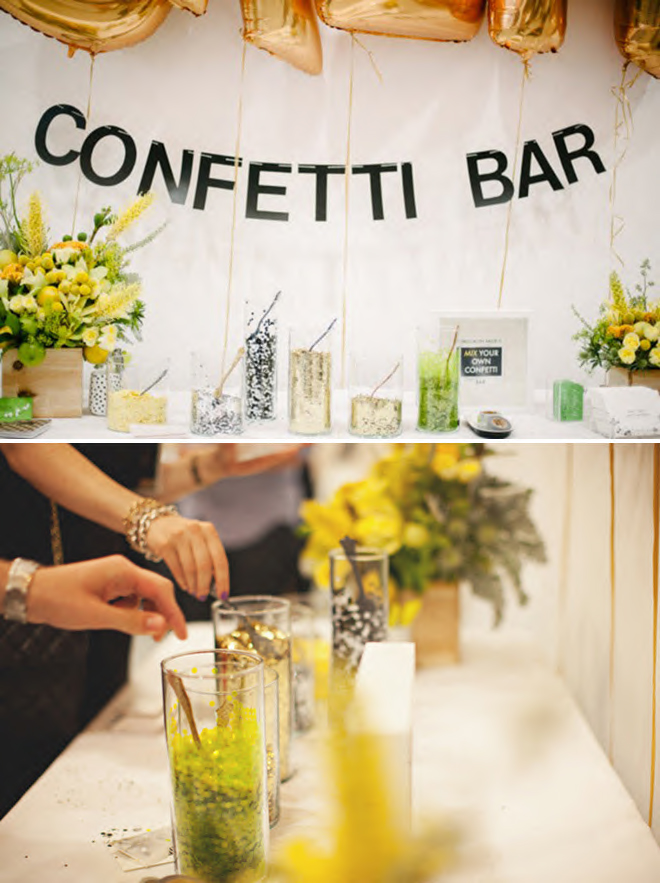 Modern, wedding confetti bar!