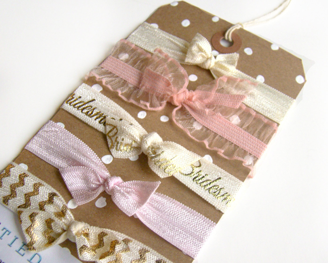 Adorable bridesmaid hair ties from Tied & Tangled