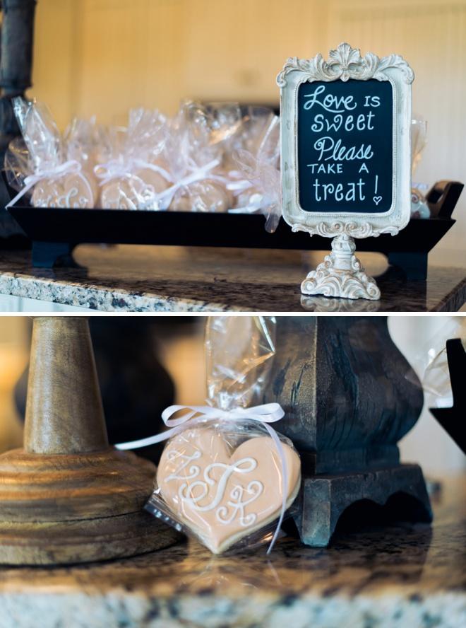 Custom heart sugar cookie favors!