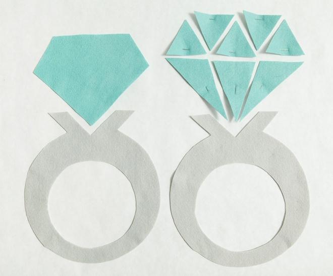 Incrível, DIY gigante sentiu anel de diamante para o seu suporte de anel!