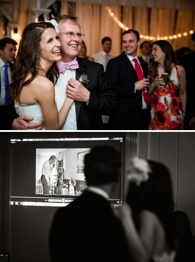 Bride dancing with father, watching old video of them dancing together.