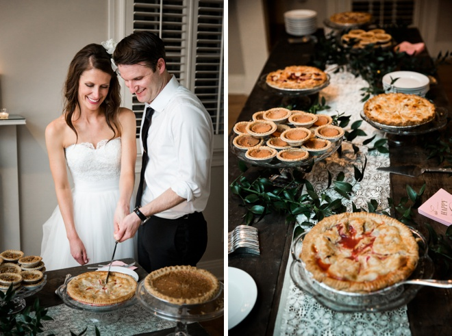 Bride and groom cutting their pie!