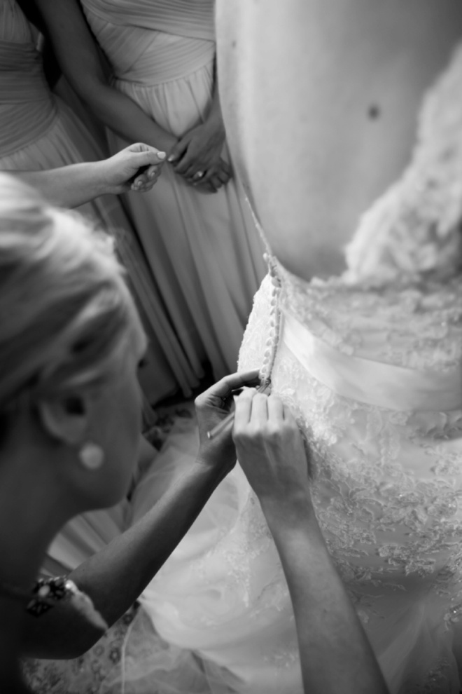 Getting the bride dressed!