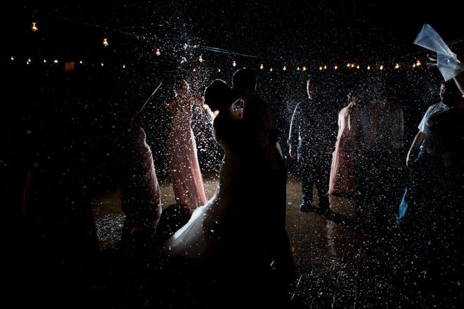 Wedding confetti toss at night!