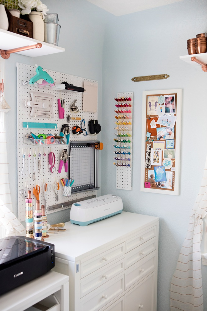 Something Turquoise Peg-board Tool Wall and Cricut Corner