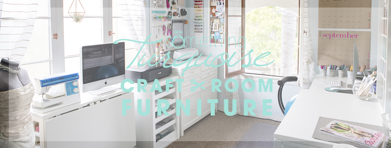 Something Turquoise Craft Room + Blog Office full of Martha Stewart Craft Furniture