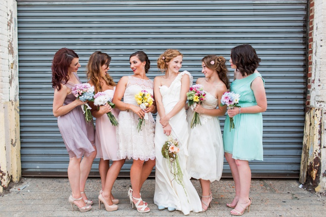 Bride and Bridesmaids dressed in BHLDN.