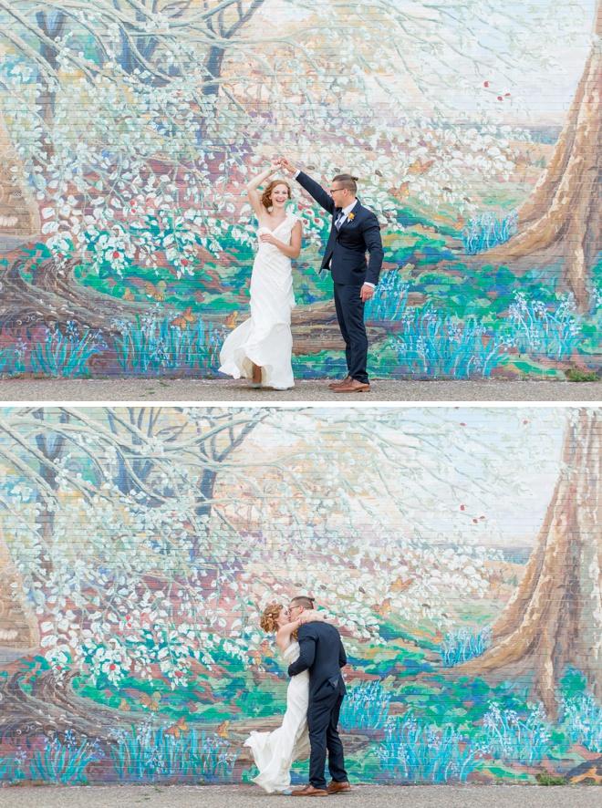Bride and groom dancing in the street!