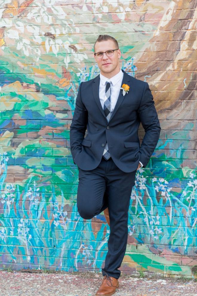 Navy blue modern groom style.