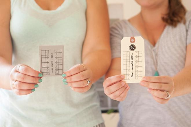 Jen + Sarah, with their DIY escort cards!