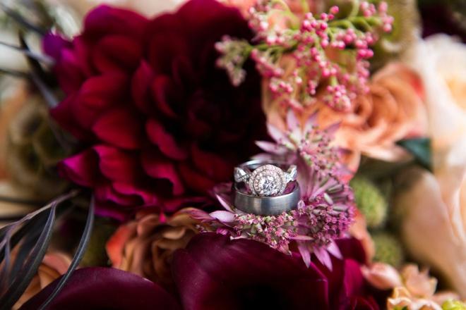 Stunning wedding ring shot in flowers