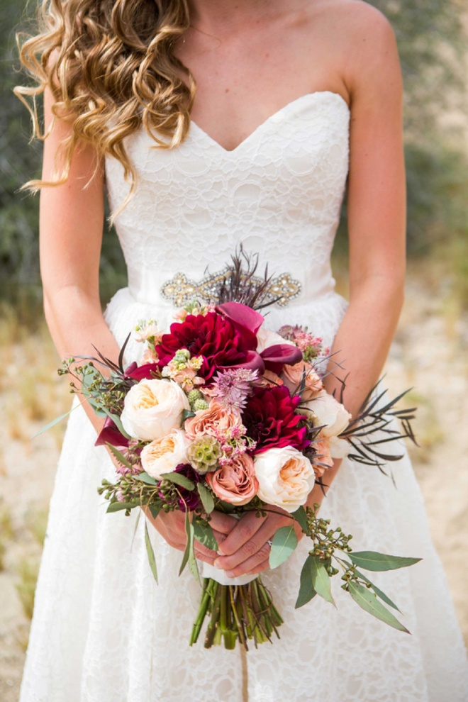 Stunning burgundy and soft pink bridal bouquet