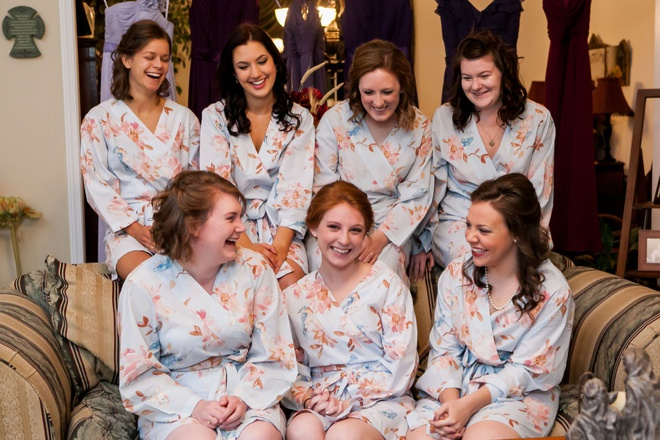 The bride and her maids in their pretty robes