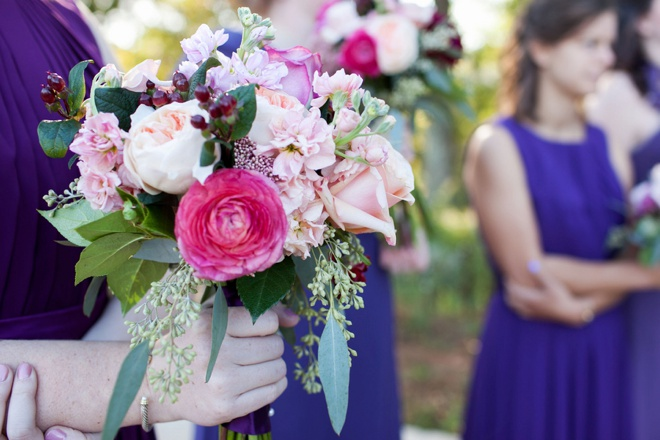Stunning wedding bouquet filled with pink and purple hues
