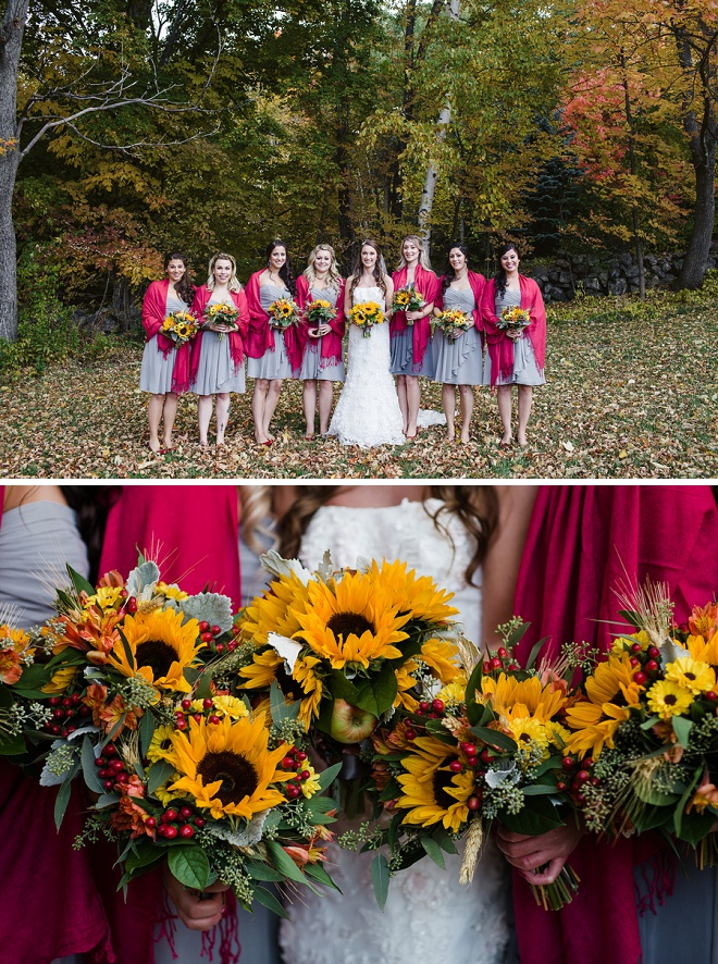 Bride and Bridesmaids with Gorgeous Sunflower and Apple Bouquets!