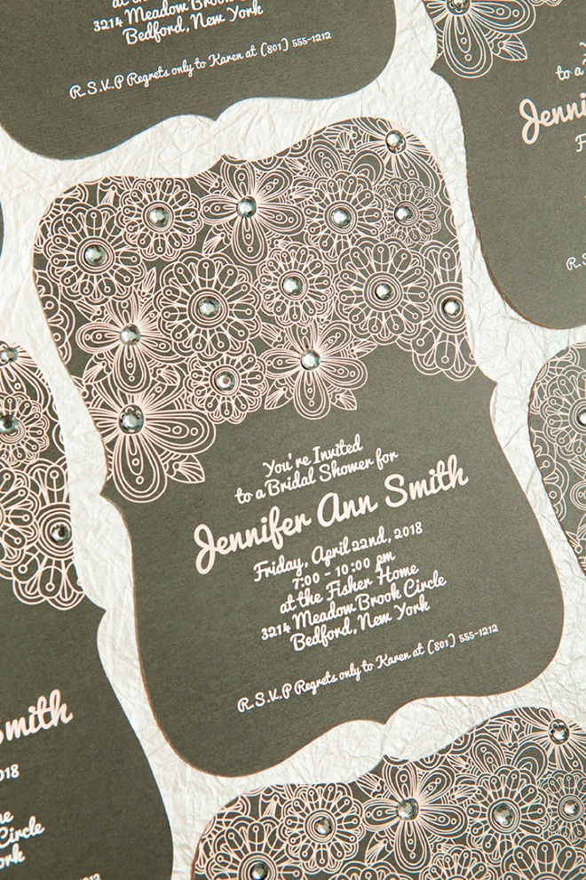 How to add fun rhinestones to your bridal shower invitations!