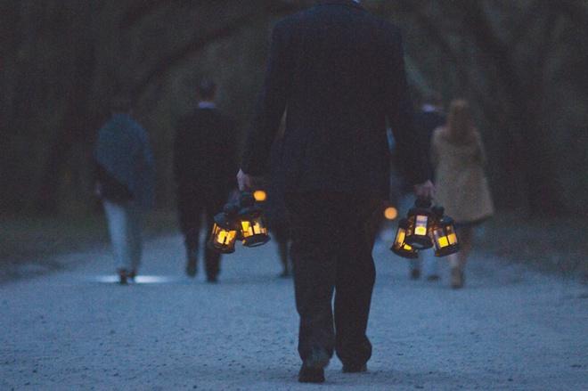 Wedding ceremony at night lit by all lanterns!