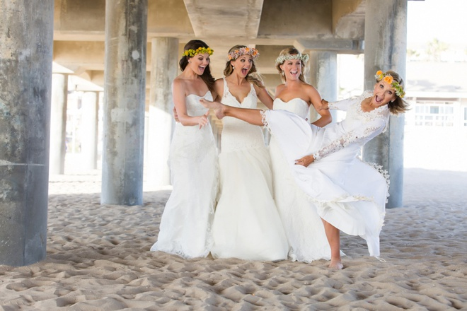 Mother and her 3 daughters decide to get back in their wedding dresses!