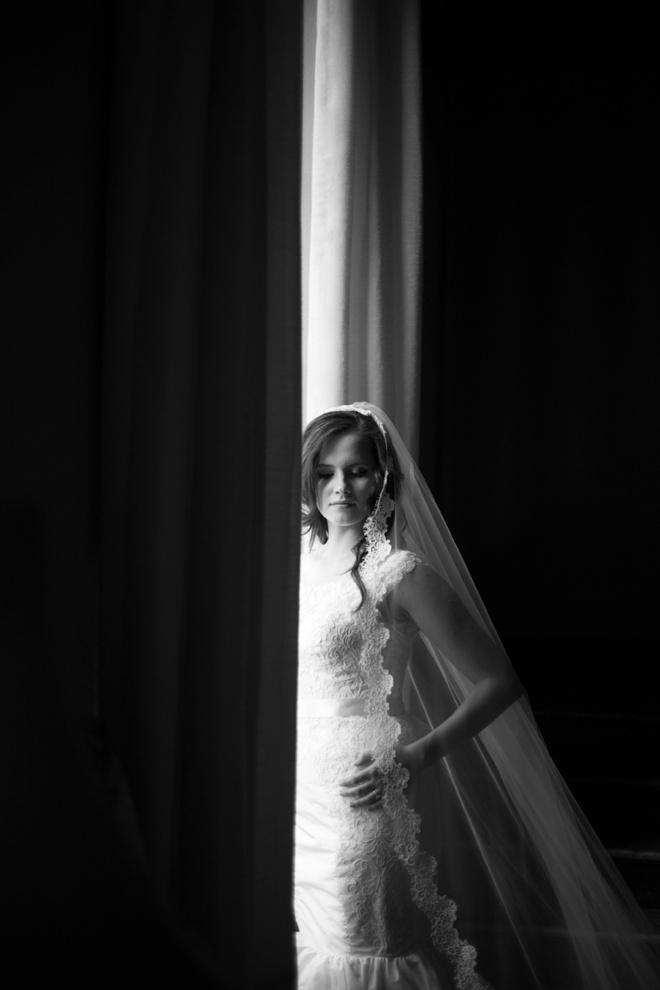 Stunning bride, black and white portrait.